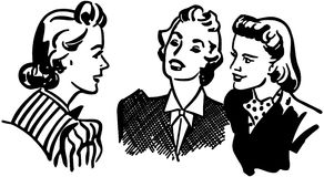 Three Gals Chatting royalty free illustration