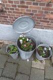 Three galvanized metal pedal buckets Stock Image