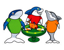 Three gambling friends. Whale, Shark and dolphin gamblers cartoon Vector Illustration