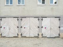 Three garage doors Royalty Free Stock Photography