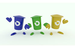 Three garbage bin on white. Three colorful garbage bin with a recovery icon on a white background, 3d recycling image Royalty Free Stock Photography