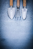 Three garden hand tools fork and spades Royalty Free Stock Images