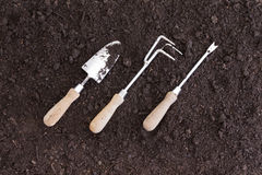 Three gardening tools placed at an angle Royalty Free Stock Image
