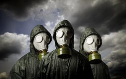Three gas masks. Survival theme. Royalty Free Stock Photography