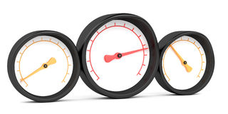 Three gauges. Isolated on white background Royalty Free Stock Photography