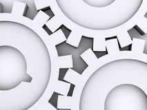 Three gears. Three 3d isolated gears over white Royalty Free Stock Image