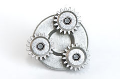 Three gears on a base Stock Image