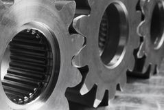 Three gears in black/white Royalty Free Stock Photo