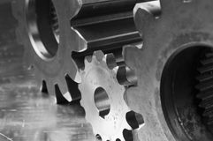 Three gears in black/white stock image