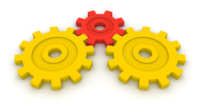 Three gears. Concept of B2B. Royalty Free Stock Photo