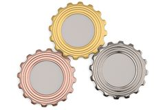 Three gears of gold, silver and copper on white background. 3D i. Llustration stock illustration