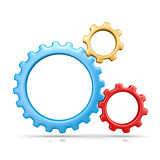 Three Gears. Three Plastic Colorful Gears Engaged 3D Illustration on White Background stock illustration