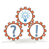 Three Gears Question Idea Answer Royalty Free Stock Image