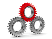 Three gears with red gear Stock Photo