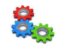 Three gears together 3d. Three different color gears together 3d Royalty Free Stock Photography