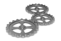 Three gears on white background Stock Photos