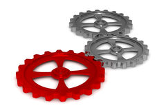 Three gears on white background Stock Photo