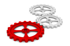 Three gears on white background Stock Images