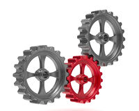 Three gears on white background Royalty Free Stock Photos