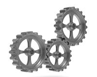 Three gears on white background Stock Image