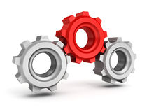 Three gears on white background. Leadership teamwork Stock Images