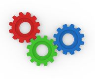 Three gears working together Stock Photography