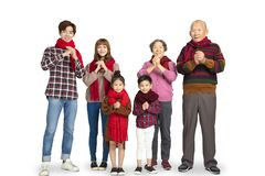 Asian family celebrating chinese new year royalty free stock images