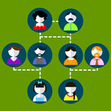 0316_32 three generation. Cartoon vector illustration of three generation family tree Big family cartoon infographic elements. Flat vector illustration stock illustration
