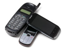 Three generation cellphones Stock Image
