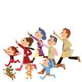 Three Generation Families Running stock illustration
