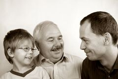 Three generation family. SON, FATHER, GRANDFATHER Royalty Free Stock Photo