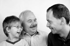 Three generation family. SON, FATHER, GRANDFATHER stock photos