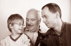 Three generation family. SON, FATHER, GRANDFATHER Royalty Free Stock Image