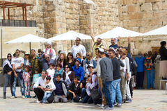 Three generation family after Bar Mitzvah celebration near Western Wall royalty free stock images