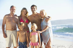 Three Generation Family On Beach Holiday Royalty Free Stock Photos