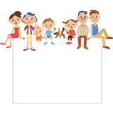 Three-generation family, big family. The three-generation family who gets on the white board stock illustration
