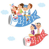 Three-generation family and Children's Day. The close three-generation family who gets on the carp streamer Stock Illustration