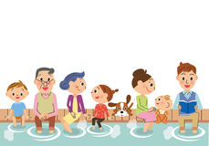 Three-generation family and footbath. The three-generation family who soaks in the footbath, and is relaxed Royalty Free Illustration