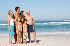Three Generation Family On Holiday On The Beach Royalty Free Stock Images