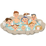 Three-generation family and hot spring. I travel in close three-generation family with a hot spring stock illustration