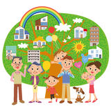 Three-generation family and house. Three-generation family makes a domiciliary search Vector Illustration