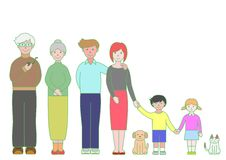 Three generation family. And pets vector illustration