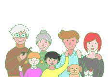 Three generation family. And pets royalty free illustration