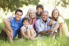 Three Generation Family Relaxing In Summer Field stock images