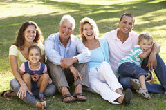 Three Generation Family Relaxing In Summer Park Stock Image