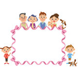 Three-generation family and ribbon frame. Close three-generation family and big ribbon frame Royalty Free Illustration
