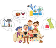 Three-generation family searches it with carrying and a tablet. I search it in a net in three-generation family happily stock illustration