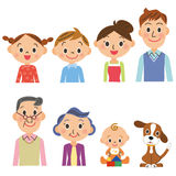 Three-generation family set. Pose of the upper body of the three-generation family vector illustration