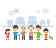 Three Generation Family Standing Together smiling. In front of houses Vector Illustration