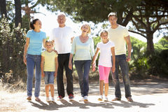 Three Generation Family On Summer Countryside Walk Together Stock Photography